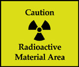 Radioactive material area sign